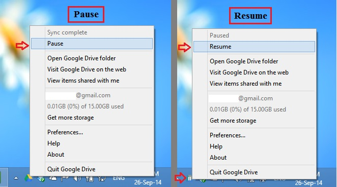 how to pause upload to google drive