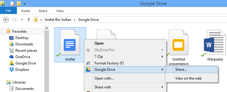 Google Drive Share or View on web