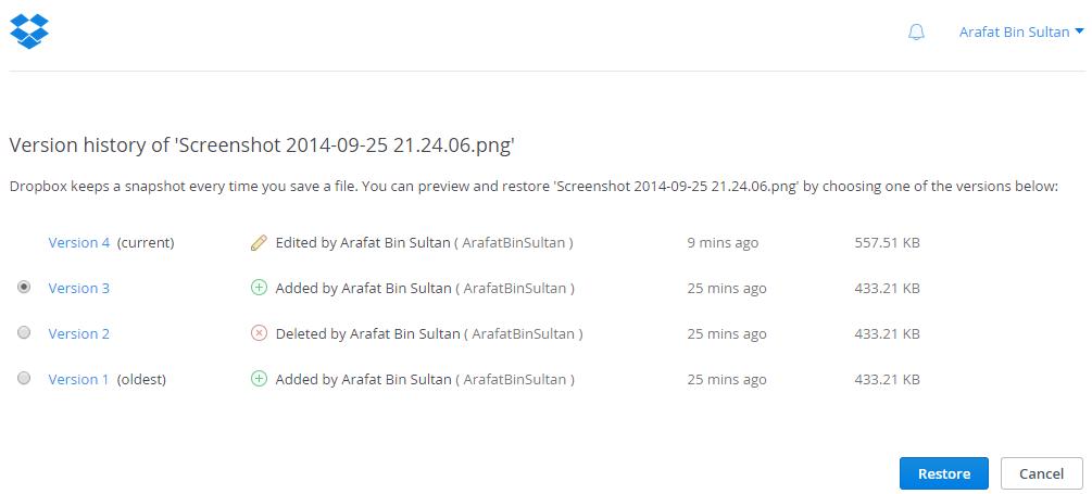 dropbox file history
