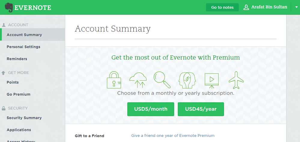 evernote account summary