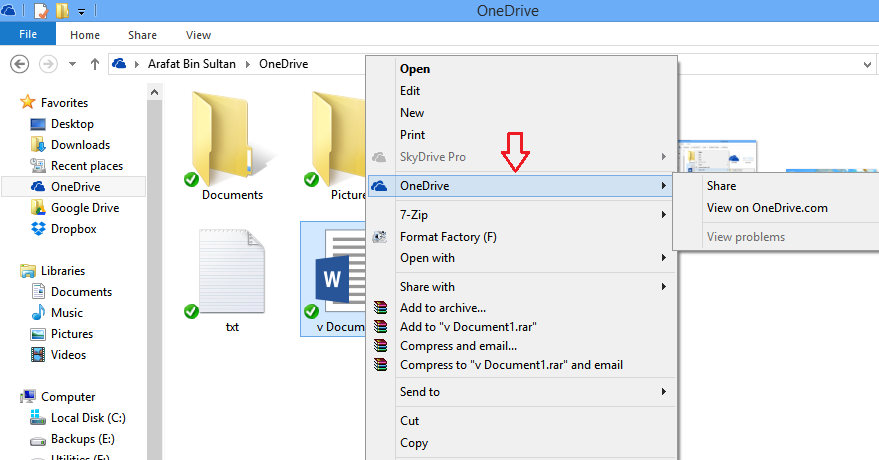 onedrive dedicated menu
