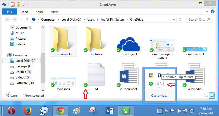 onedrive home sys tray up