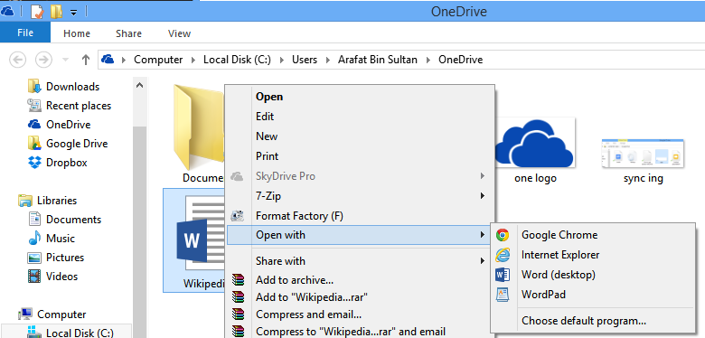 onedrive open with