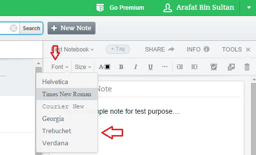 how to change the default font in evernote