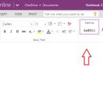 OneNote text editing tools
