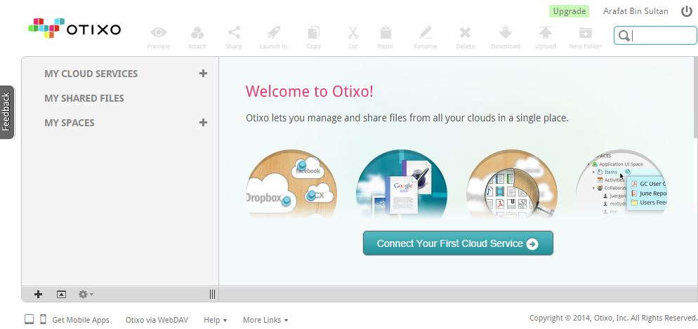 otixo welcome page