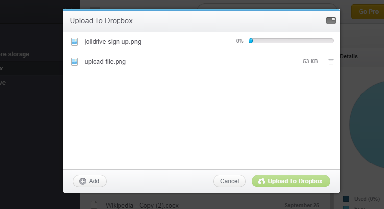 upload file to dropbox via Jolidrive