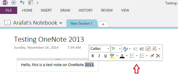 OneNote formatting tool popup