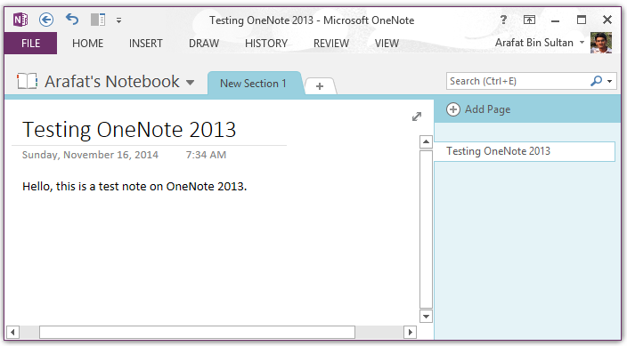 OneNote new note