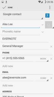 save business card to contacts