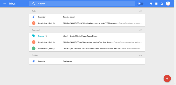 Web interface of Inbox
