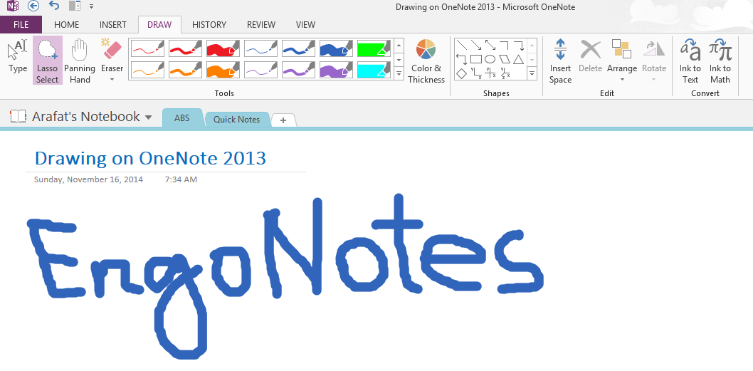drawing OneNote