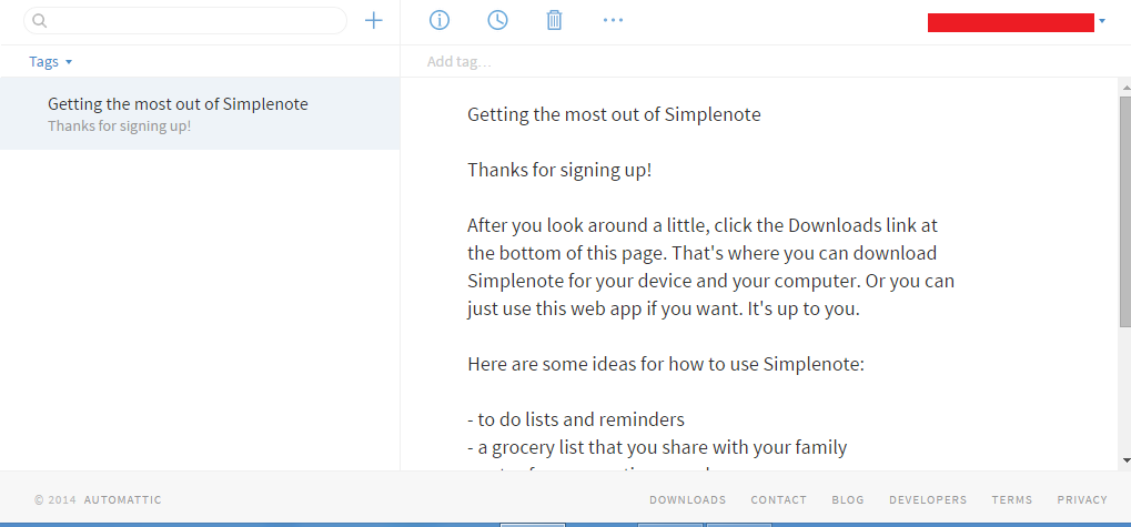 welcome page simplenote