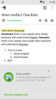 Evernote mobile app conflict sample