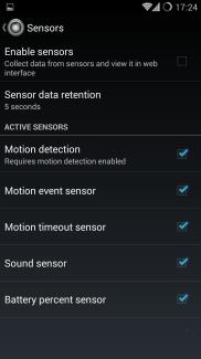 Sensors settings