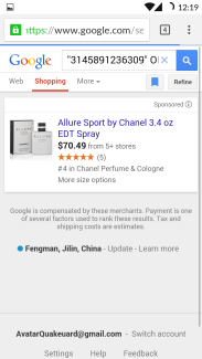 Google goggles barcode scanning result on Google shopping