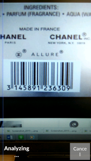 Google goggles barcode scanning analyzing