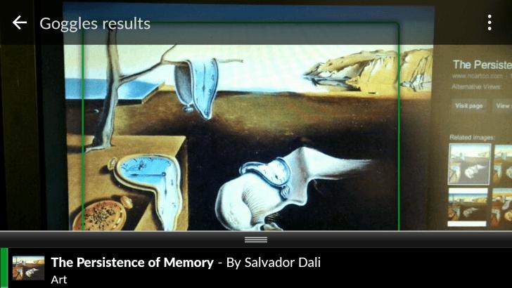 Google Goggles artwork scanning