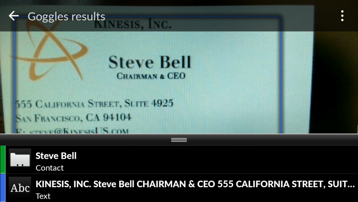 Google Goggles business card scanning