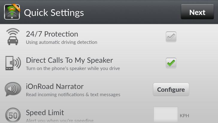 iOnRoad mount&drive settings