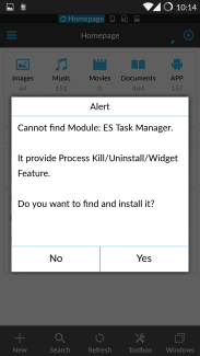 ES File explorer task manager missing notification