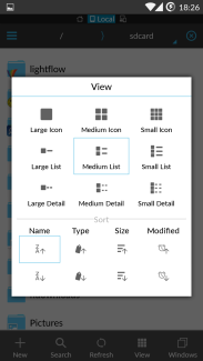 ES File explorer view mode