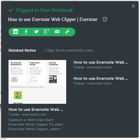 after saving evernote web clipper