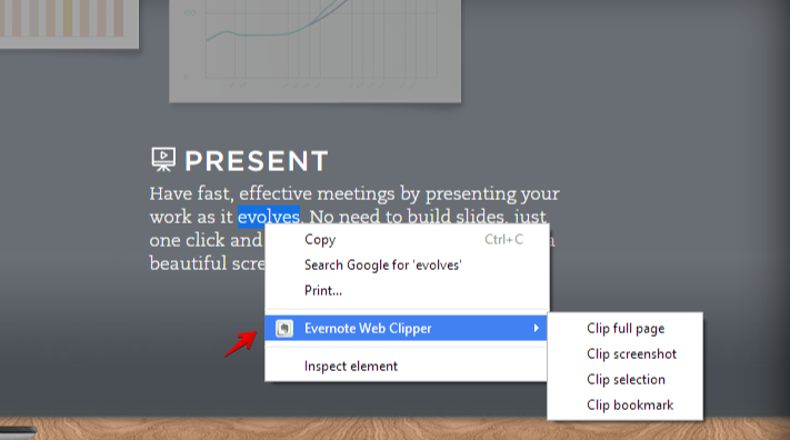 evernote web clipper in context menu