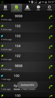 VoIP call log