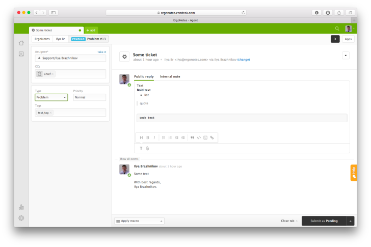 Ticket editing in Zendesk