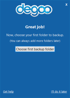Degoo choose folder