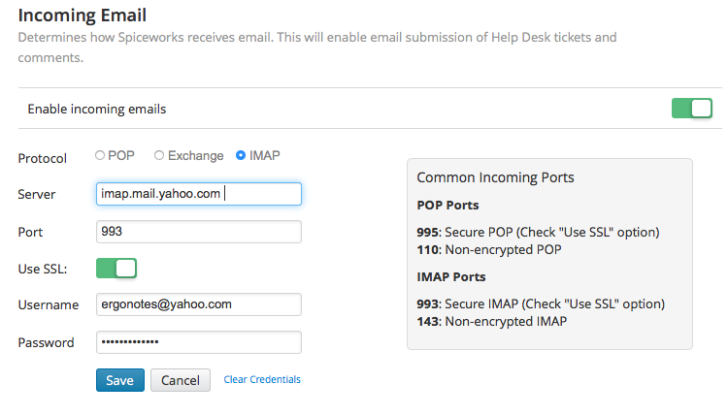 Spiceworks incoming email settings