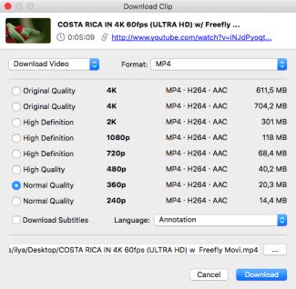4k video downloader Mac - choose format