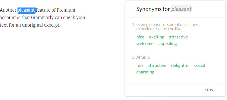 Grammarly: synonyms