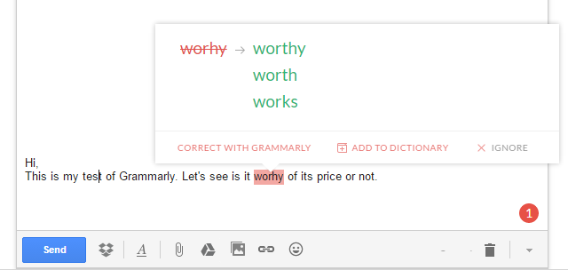 Grammarly: Typo correction