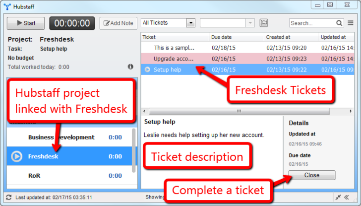 Hubstaff for Time Tracking in Freshdesk