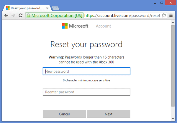 reset windows10 password