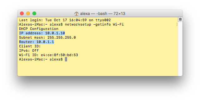 mac's ip address via terminal
